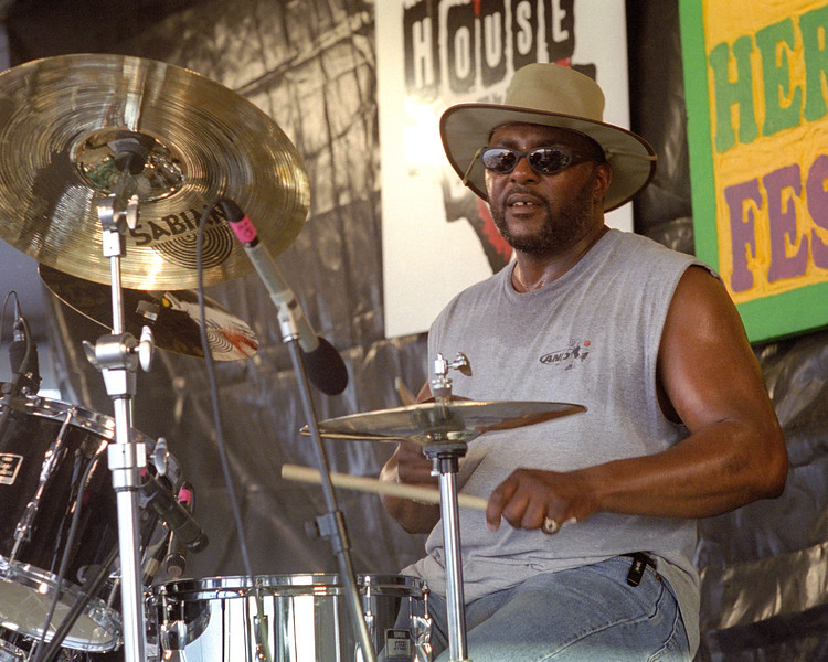 NEW ORLEANS, LA-APRIL 25: Herman Ernest performs with Dr. John at the New Orleans Jazz & Heritage Festival on April 25, 1999. (Photo by Clayton Call/Redferns)