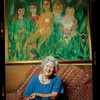 Jean with portrait of Butler daughters - her late 80s