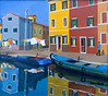 """Canal Burano, Venice""  9 1/2"" x 8 1/2"" 1993: Acrylic on board"