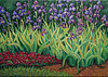 """""""Iris Bed"""" 5"""" x 7""""  2001 Acrylic on gallery wrap canvas. Private collection."""