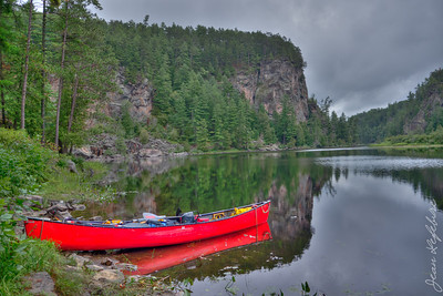 "View of the ""Natch"" cliff. Petawawa River in Algonquin Park."