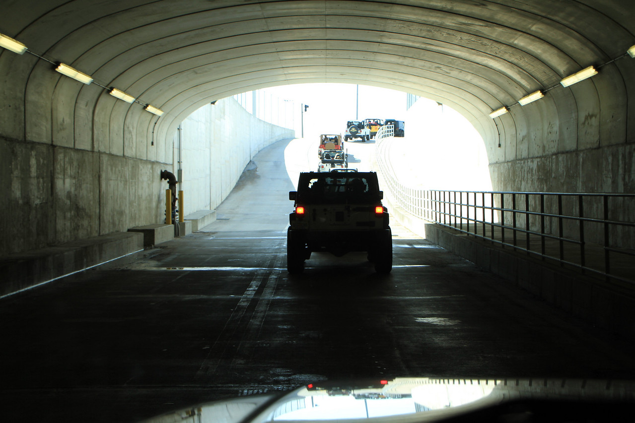 Heading thru the tunnel under the race track into the infield.