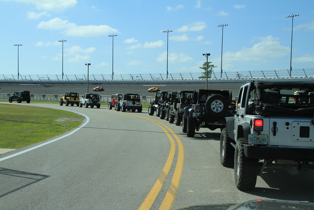 Note the race cars on the track as we head towards the middle of the infield!