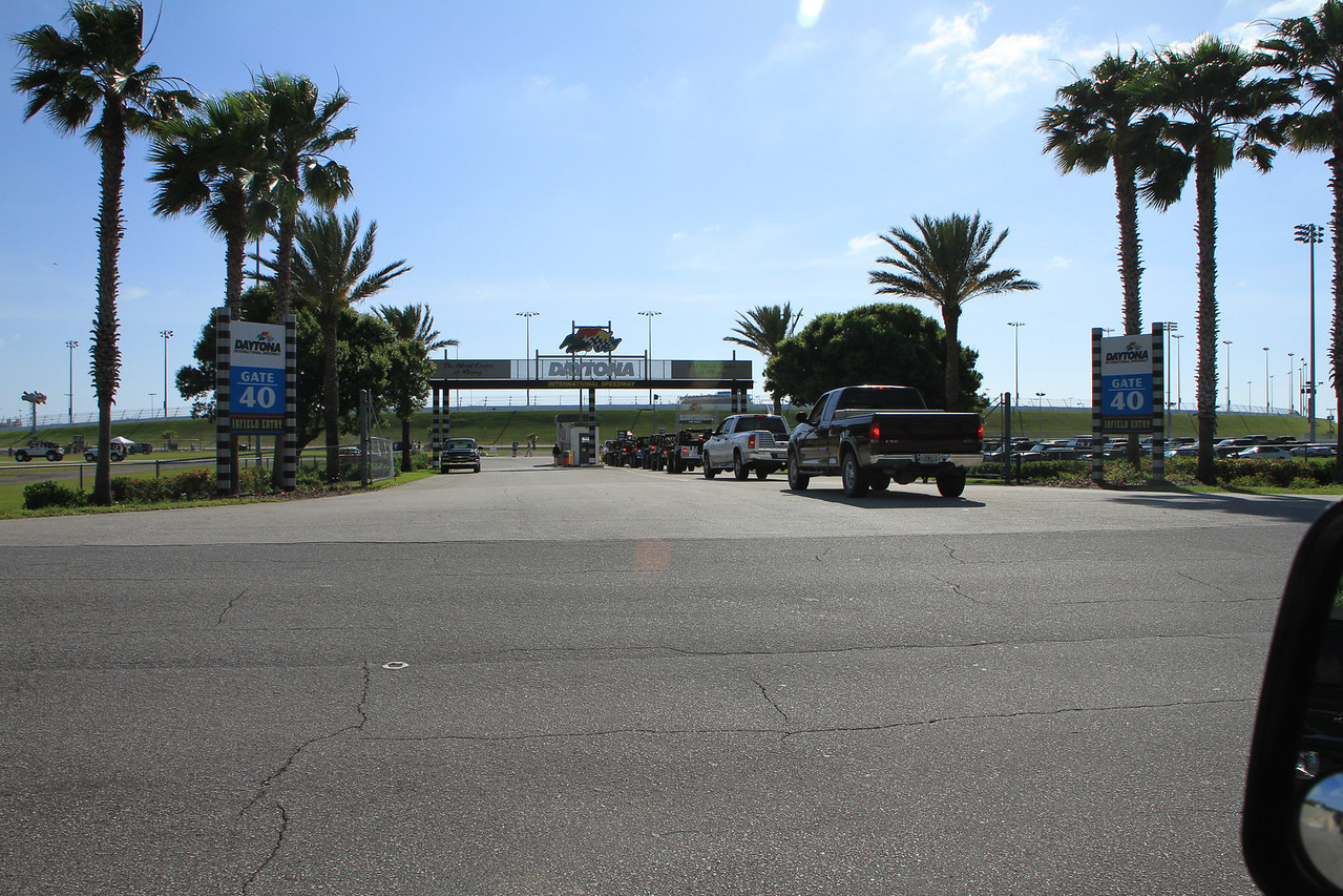 Arriving at the speedway
