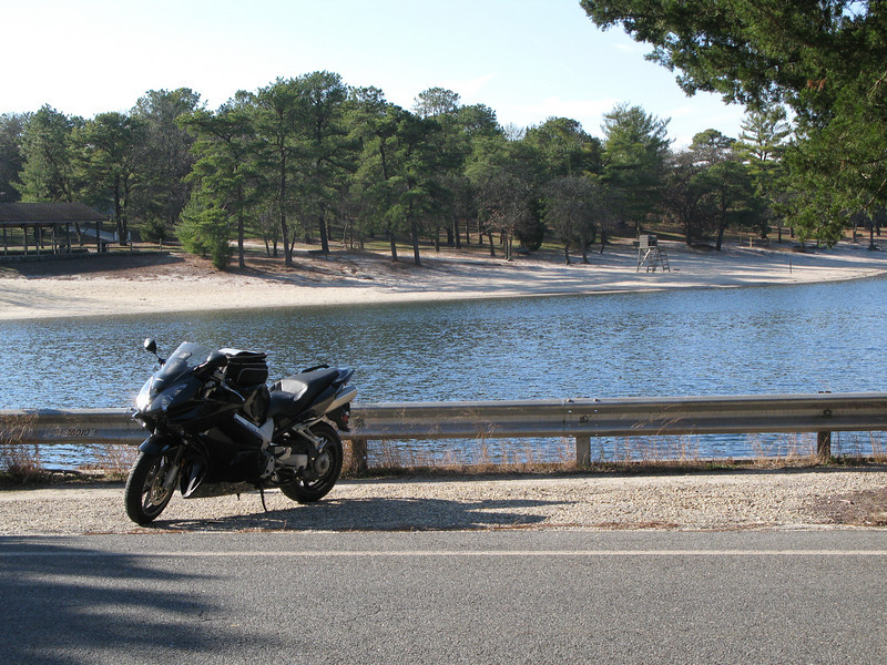 No, the VFR is not for sale.  At least not until BMW decides to build a final drive that's good for more than 35k miles.    I think this body of water was called Harry Wright park or something like that.    Shortly after this the road turned to sand, and being as I bought the VFR and not the GS, I turned around.