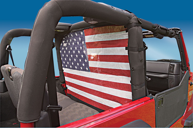 508005: 80-06 Jeep CJ, YJ & TJ - Black<br /> 508005-1: 80-06 Jeep CJ, YJ & TJ - American Flag<br /> 508005-2: 80-06 Jeep CJ, YJ & TJ - Pirate<br /> 508005-3: 80-06 Jeep CJ, YJ & TJ - Confederate Flag<br /> 508006: 07-Current JK Wrangler 2 Door - Black