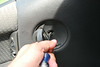 Removing screw in door latch