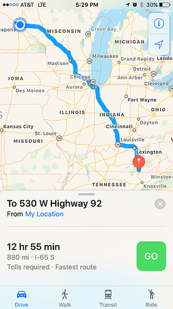 Roughly my route. I cut out Chicago and headed down 39 in Illinois before cutting over to Indiana