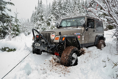 Jeep Stuck in Snow - Winches Out - Springhill, Nova Scotia