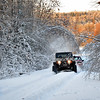A Jeep pulls another Jeep up a hill in the snow - Nova Scotia