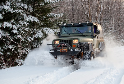 Jeep blasting through snow in Springhill, Nova Scotia