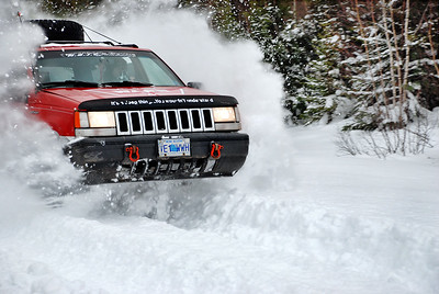 Jeep Blasting Through Fresh Snow - Nova Scotia