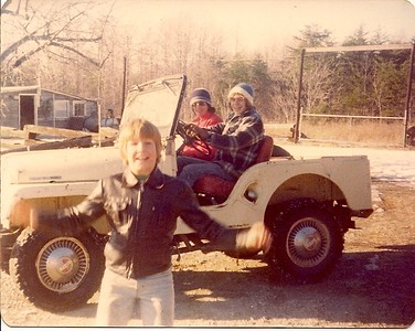 This photo taken January 1977 at my Uncle's Farm in Reidsville, N.C. In the foreground is my Cousin Steven, with me (KW) driving, and my friend Tim Paasch. The Jeep is 1966 Tuxedo Park with, to the best of my memory, a V-6 engine. My Uncle kept it in the barn for farm use, and we would have a blast with it when we would travel from Va. Beach to visit. He got rid of it many years later- I'd sure like to have it now!