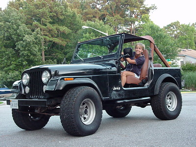 Lori in her Jeep not long after purchasing it from a neighbor down the street on Goose Landing in 2001
