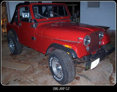 I found this Jeep on Craigslist after I had already decided on getting a different CJ. Luckily, this one caught my eye. Here's the text from the Ad: 1/03/2010  Last year of the Jeep CJ: 1986 Jeep CJ 7 . rare auto trans, power steering , factory dash pad , hard top , new soft top never installed , new floor pans for front and rear need installing . This jeep has receipts for over $2800 in motor work . There is some rust , but have brand new floor pans still in boxes.THE PARTS WILL NOT BE SOLD SEPERATELY AND WILL GO WITH THIS JEEP ! $XXXX or best reasonable SERIOUS offer . email for photos or just call 757-XXX-XXXX