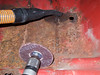 Jan 13 I'm  just using this abrasive wheel and vacuum to remove most of the loose rust to expose all the bad areas.
