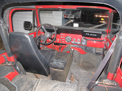 Jan 5 It was about 31 degrees, dark & windy, but I still had visions of the interior all cleaned up and cruising around on a warm Summer Day! Just wait...it will happen. * If you look closely ,you will notice the ICE in the cupholders behind the rollbar!