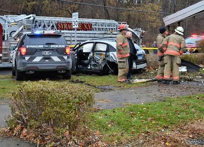 Vehicle into building - Grand and Hoefler Syracuse, NY - 11/28/19