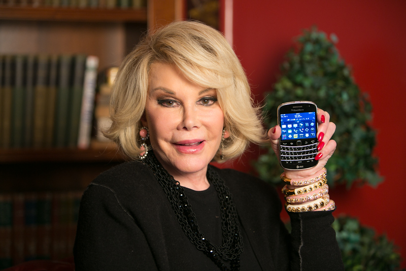 Joan Rivers shows us her Blackberry