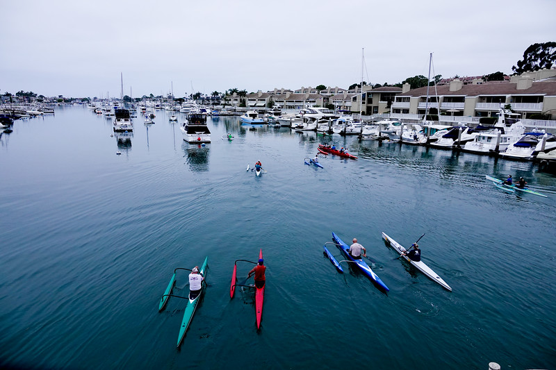 Morning boaters enjoy the Lower Newport Harbor off Balboa Island.