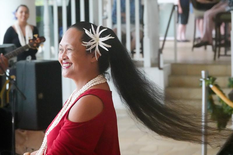 A female hula dancer at the Aqua Beach Resort near Lihue, Kauai