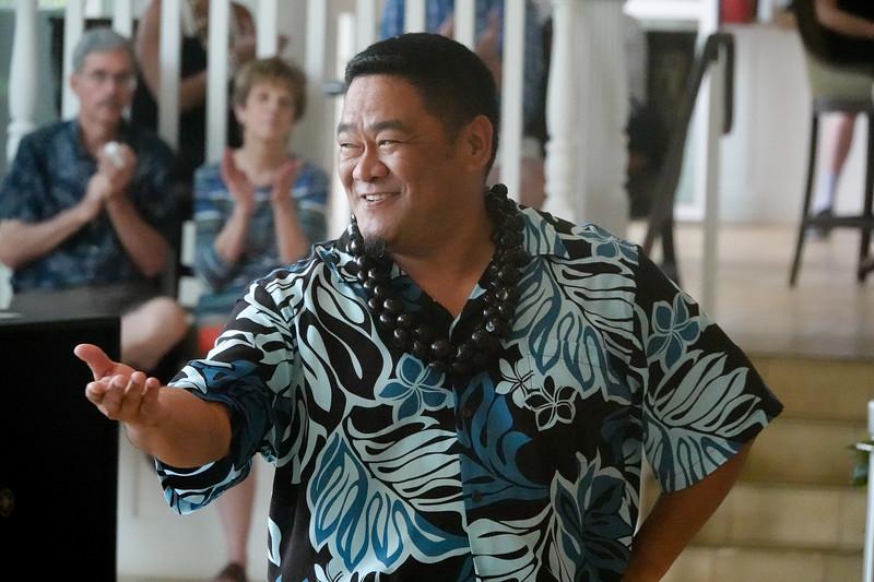 A male hula dancer at the Aqua Beach Resort near Lihue, Kauai