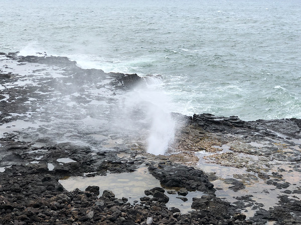 Spouting Horn is on the south side of the island, near Poipu Beach and offers geyser like water that spouts up during times of big waves