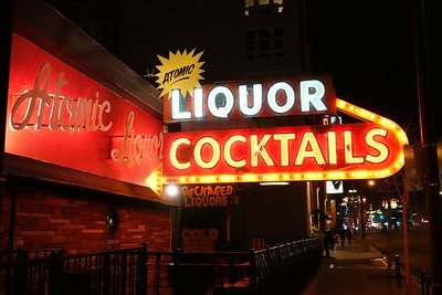 The neon sign for Atomic Liquors, the oldest free-standing bar in Las Vegas. since 1952 917 Fremont St, in downtown Las Vegas.