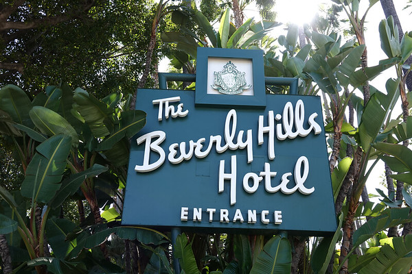 The entrance to the historic Beverly Hills Hotel.
