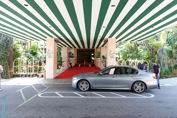 The entrance to the Beverly Hills Hotel.