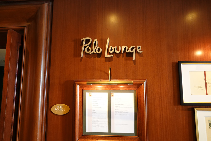 The entrance to the Polo Lounge at the Beverly Hills hotel.