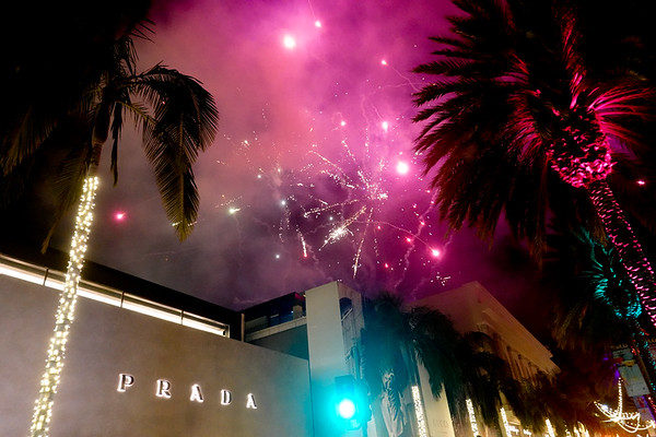 Fireworks over the Prada store in Bevely Hills on BOLD nights