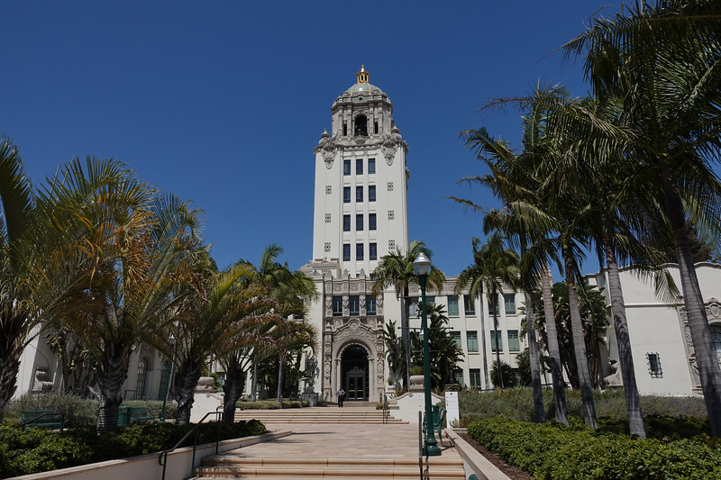 The gothic spanish revival Beverly Hills city hall, circa 1932, was designed by architect William Gage.