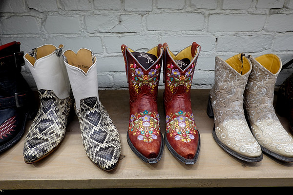 Western boots on display at the West store off Rodeo Drive in Beverly Hills