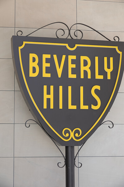 The iconic Beverly Hills sign welcomes tourists in three locations. This one is by the tourist bureau.