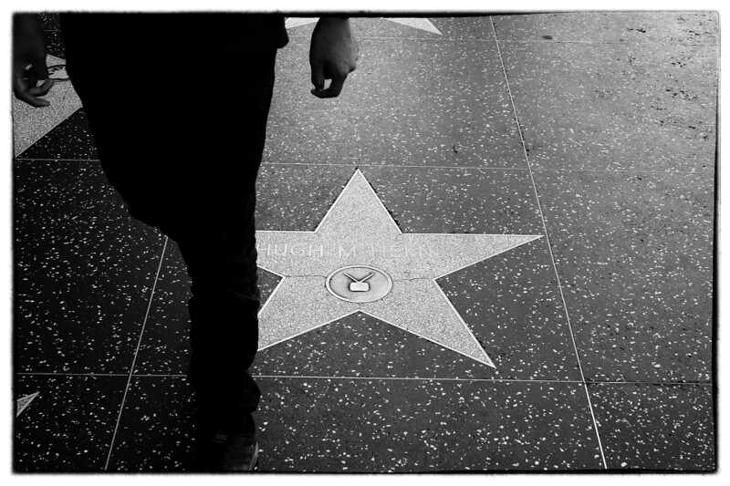 Walking over a Hollywood star