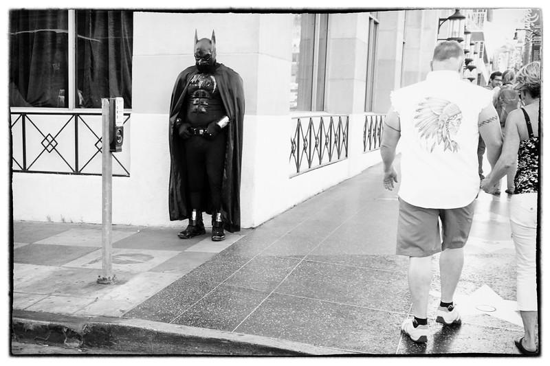 Batman hanging on Hollywood Blvd.
