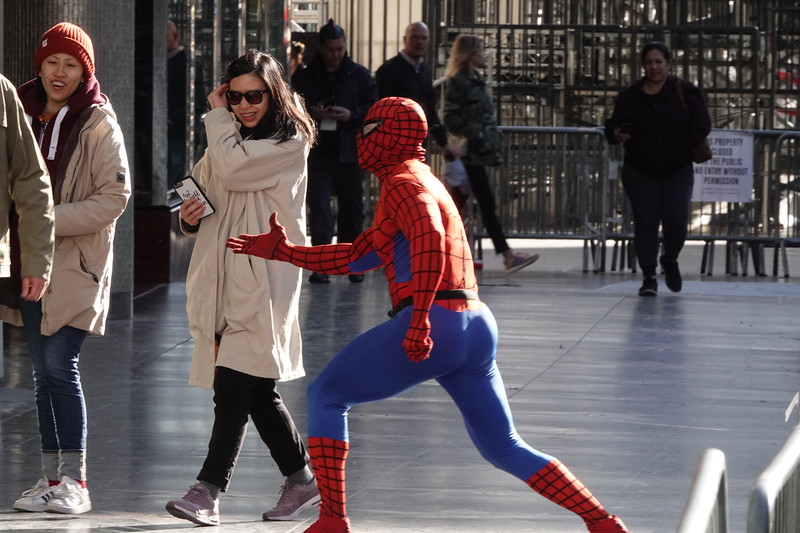 Spiderman tries to stop action in Hollywood