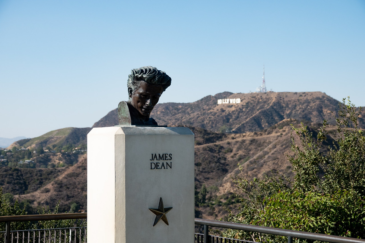Pose for a Selfie in front of the Hollywood Sign from the vantage point of Griffith Park and the statue of James Dean, on your Photowalk of the Hollywood Sign.