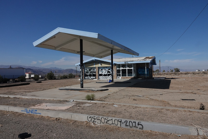 The deserted gas station by the side of the road in Baker, California, as you exit Route 15 from Las Vegas