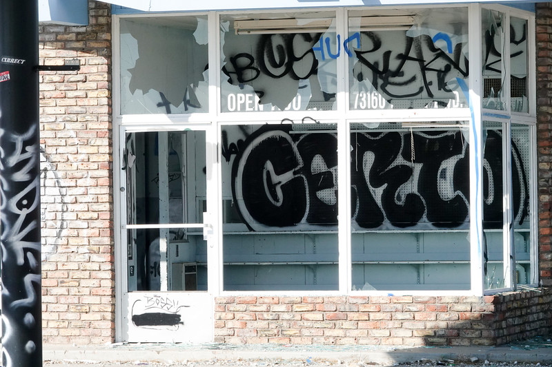 The windows of the old gas station in Baker, California