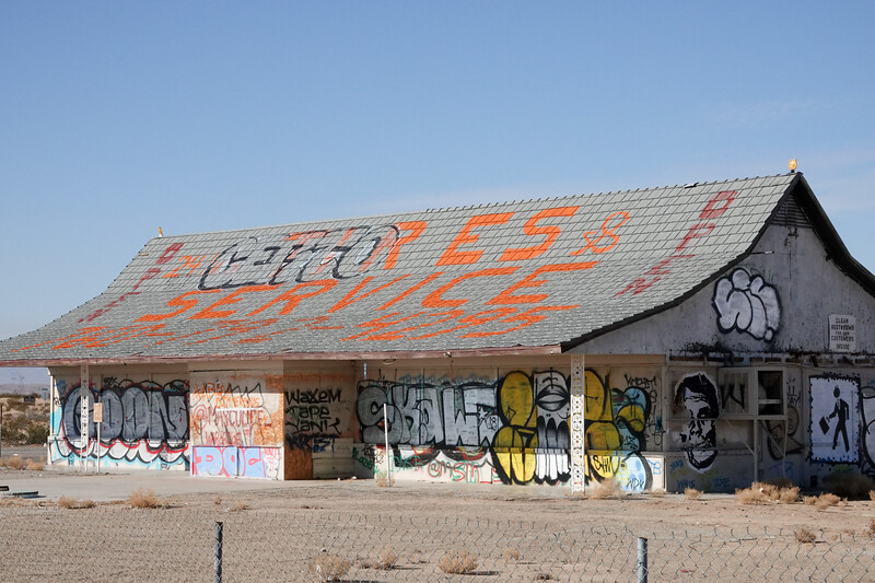 A deserted gas station/market off route 15 in California
