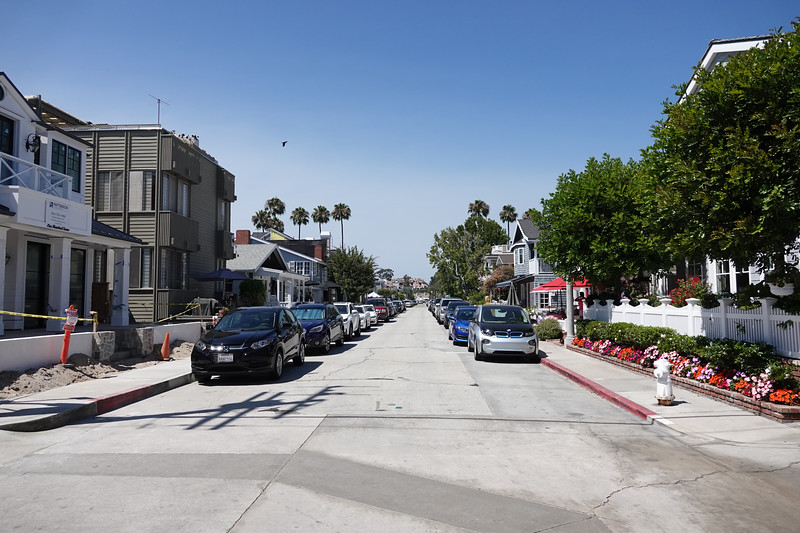 A quiet street on Balboa Island off the main drag.