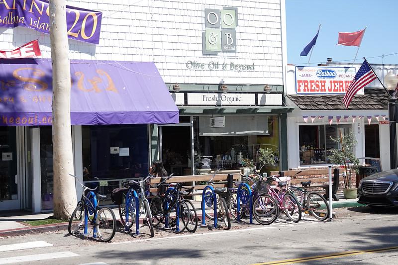 Bikes are locked up on Marine Avenue in Balboa Island