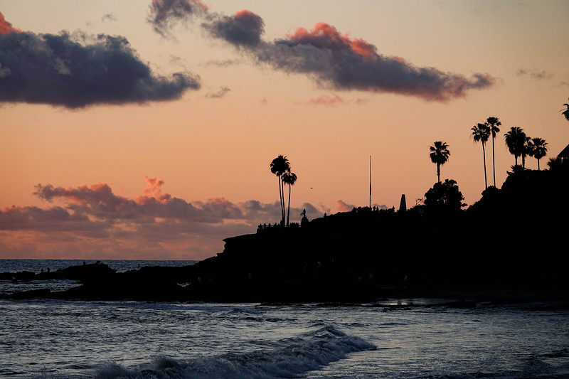 Sunset in downtown Laguna Beach