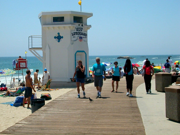 Walking along the Laguna Beach boardwalk