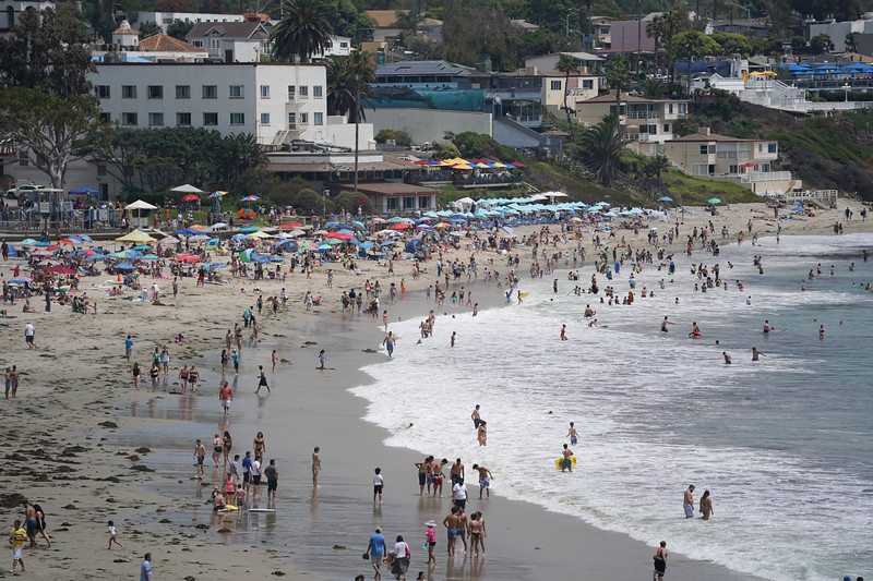 The Laguna Beach coast on a busy day