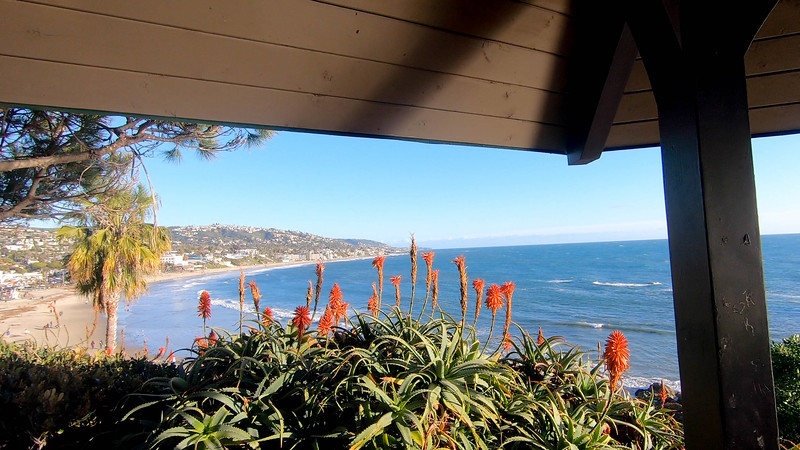The view of the coast from the Heisler Park gazebo