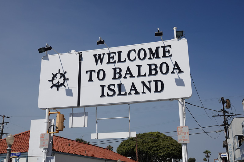 Passengers on the Balboa Ferry are welcomed to the little island. The ferry originally cost 5 cents to cross from Balboa Peninsula, now it's $2.