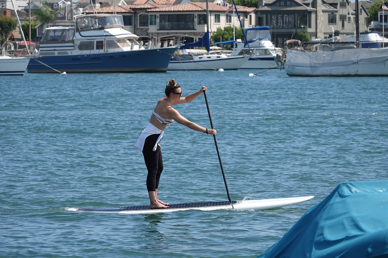 Stand-up paddling on Newport Harbor